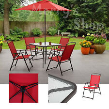Patio Set With Umbrella Dining Furniture Glass Table Folding Steel Chair Outdoor