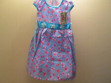 Girls Blue Bow pattern Dress size 6-7 years old Brand New