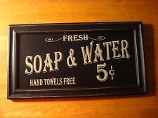 Vintage Style SOAP & WATER Hand Towels Free Bathroom Home Wall Decor Sign NEW