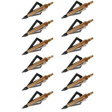 12 Pcs Gold Hunting Arrow Broadheads 125Grain 3 Blade Fits Crossbow and Compound