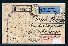63861) Liechtenstein Reco-Karte ab Triesenberg LP ZÜRICH - MÜNCHEN 23.4.30