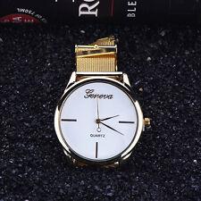 Damen Geneva Uhr Klassisch Edelstahl Netz Gold Analog Quarz Armbanduhren