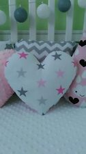 Pink Heart Cushion Pillow Decorative Kids Bedroom Baby Nursery Living Room Gift