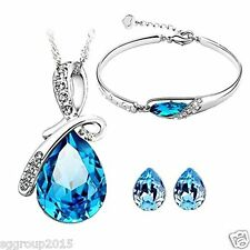 Blue Crystal Necklace Pendant full set Valentine Day Gifts For Women /Girlfriend