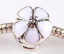 HOT 1pcs silver with cherry painted buckle European charm bead bracelet AA634