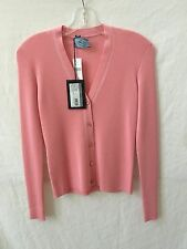 Prada Pink Cashmere Long Sleeve V-Neck Cardigan  Sweater Size 4 (36)