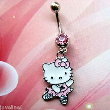 Piercing Navel Hello Kitty Dance Jewelry Silvered Crystal Pink AC 50