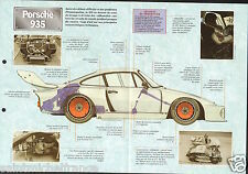Porsche 935/2 6 Cyl 24 Heure du Mans Racing Germany 1976 Car Auto FICHE FRANCE