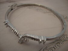 Clear Crystal Cocktail Bangle Bracelet 18K White Gold Plated Brass Fine (TO377)