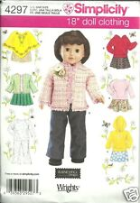 """S4297 - 18"""" Doll Clothes Simplicity Sewing Pattern Skirt Shirt Poncho Pants"""
