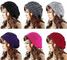 Winter Knitted Slouch Beanie Hat Oversized Soft Wool Fashion Large