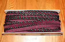 1 Yard Wrights Twisted Cord Trim Edging with Lip Burgundy Red Green Multiples