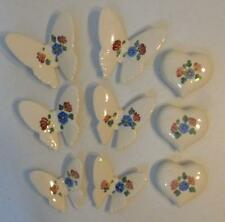 VTG HOME INTERIOR PINK AND BLUE 6 CERAMIC BUTTERFLIES AND 3 HEART WALL PLAQUES