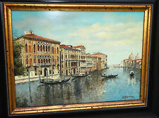 "Vintage Italian Oil on Board Painting ""Venice Canals w. Gondolas"" by L. Vesco"