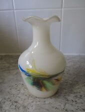 LOVELY VINTAGE 1960s / 70s WHITE GLASS VASE WITH SWIRLY COLOUR DESIGN