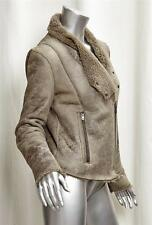 HELMUT LANG Womens Distressed Gray Shearling Zip-Up Moto Leather Jacket Coat S