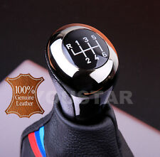 REAL LEATHER / SHADOW CHROME GUNMETAL 6 Speed Manual Gear Shift Knob MT BMW #2D