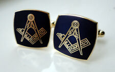 ZP36 Masonic Masons cufflinks Square Compass Freemason Blue finish with gold