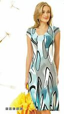DRESS CASUAL SUMMER STRETCH NATURAL PRINTED MID-CALF MADE IN EUROPE S M L XL 2XL
