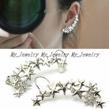 1Pair Women Wrap Cuff Cartilage Clip On Earrings Lady Silver Crystal Star Ear