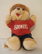 """1986 Shoney's Bear Plush Red T-Shirt Jeans 11"""" Vintage Restaurant Advertising 3+"""