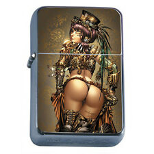 Windproof Refillable Flip Top Oil Lighter Savage Pirate Pin Up Girl D4 Hot