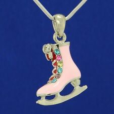 W Swarovski Crystal Ice Skating Figure Shoe Pink Charm New Pendant Gift