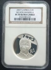 Nelson Mandela 1993 Nobel Laureate Silver 1R or 1 Rand PF70 UC - PERFECT COIN