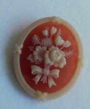 """Vintage 1970's AVON Carved Floral Cameo Brooch Dress Pin 1 1/2"""" x 1 1/4"""""""