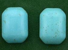 TWO 25x18 Octagon Emerald Synthetic Turquoise Cabochon Gem Stone Gemstone