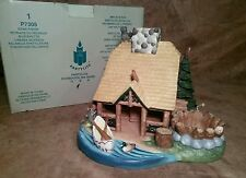 Partylite Gone Fishin tealight candle holder ceramic hunting cabin house P7305