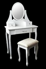 ALAN Make-up table Vanity Makeup Table with mirror & Stool Vintage White