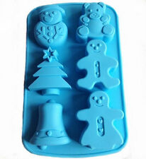 6-Big Snowman Christmas Tree Bell Cake Mold Cookie Mould Flexible Silicone Soap