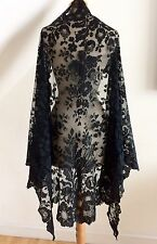 Victorian 1800s Shawl Black Silk Chantilly Lace Vintage Spanish Wrap Stole 290cm
