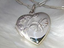 Solid.925 Sterling Silver Heart Butterfly Locket pendant
