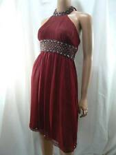 Adrianna Papell Spice Red Beaded Ruched Shirred Silk Chiffon Dress 10 NWT A347