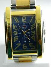 BUGLE BOY  BLUE DIAL GOLD TONE FACE  /2 TONE BEZEL /METAL BAND