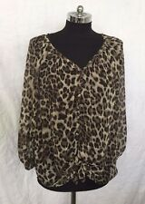 Chiffon Cheetah Leopard Animal  V Neck Henley Tunic T Shirt Top Blouse Smal Used