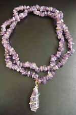 VINTAGE RARE NATURAL AMETHYST BEADS BEAUTIFUL DESIGN STYLE NECKLACE JEWELRY