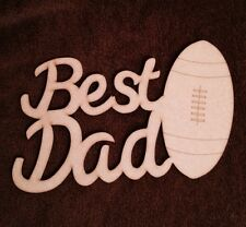 Best Dad With Rugby Ball  Fathers Day Gift Mdf Plaque Blank.