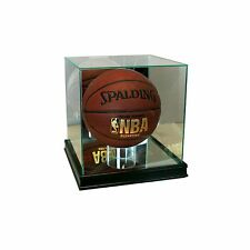 New Real Glass Square Basketball Display Case Black Sport Molding UV FREE SHIP