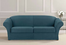 Heavyweight 2 cushion Stretch Suede Sofa Slipcover sure fit blue teal