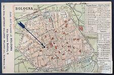 Cartolina d'epoca pubblicitaria mappa di Bologna Antonio Vallardi via C.Battisti