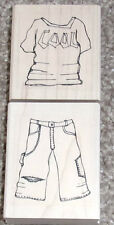 ELUSIVE IMAGES Wood Mounted Stamp Set COOL T-SHIRT JEANS Trendy Teens Boy Set