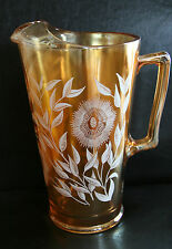 Jeannette Marigold Late Sunflower Glass Pitcher