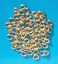 100 GP oval jump rings, 6.5mm x 5mm, findings for jewellery making crafts