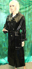 shiny black pvc vinyl sissy hooded long raincoat belt TV FETTISH mackintosh  SM