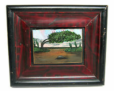 "Vintage BUTTERFLY WING Trees DESERT Cactus Scene 7.5"" X 6.5"" Framed Picture (A)"