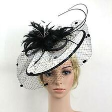 Vintage Black and White Fascinator Feather Hair Clip Wedding Headpiece