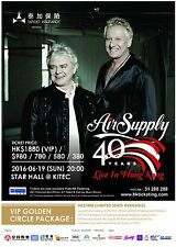 "AIR SUPPLY ""40 YEARS LIVE IN HONG KONG"" 2016 CONCERT TOUR POSTER-Soft Rock Music"
